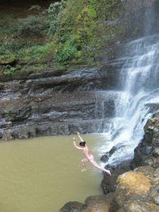 Great swimming hole at the base of the waterfall