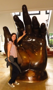 Me with La Mano at the Botero Museum