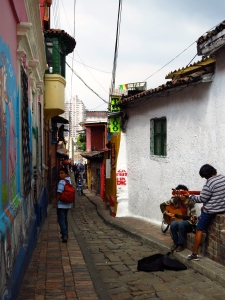 Brightly colored walls in La Candeleria